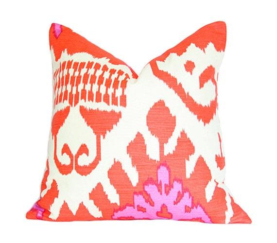 Kazak Ikat Orange and Pink - Quadrille - Designer Pillow Cover (Single-Sided)
