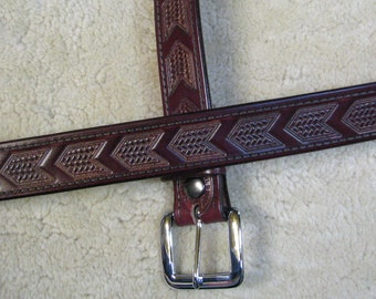 Hand-tooled Leather Belt - B11061 - Chevrons in Antiqued Burgundy - FREE USA Shipping
