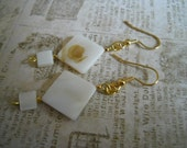 Beadwork White Shell Earrings Ecofriendly Bridal Mother of Pearl Shell Gold Beaded Jewelry