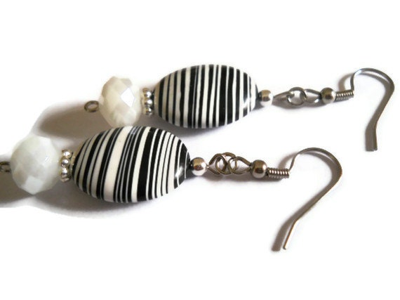 Black and White Ceramic Earrings, Black and White Earrings, Handpainted Earrings, Dangle Earrings, White Czech Glass Beaded Jewelry
