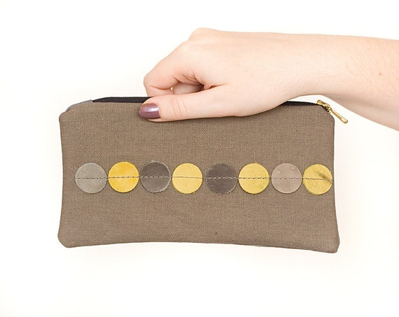Dots pencil pouch zipper clutch cosmetic case recycled linen leather - back to school - grey yellow ash