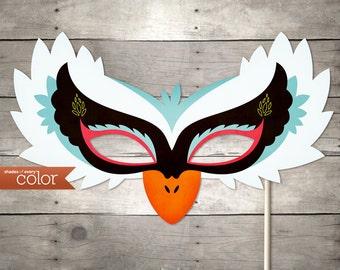 DIY Printable White Swan Mask - Halloween, Birthdays, masquerade ball, mardi gras, and weddings