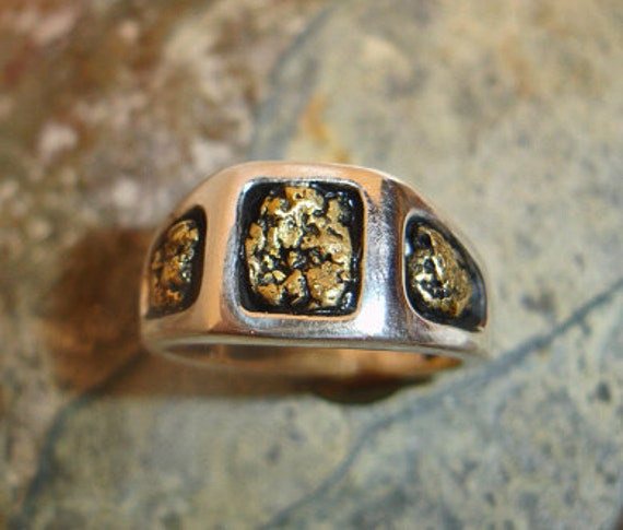Mens California Gold Nugget Ring in Sterling Silver