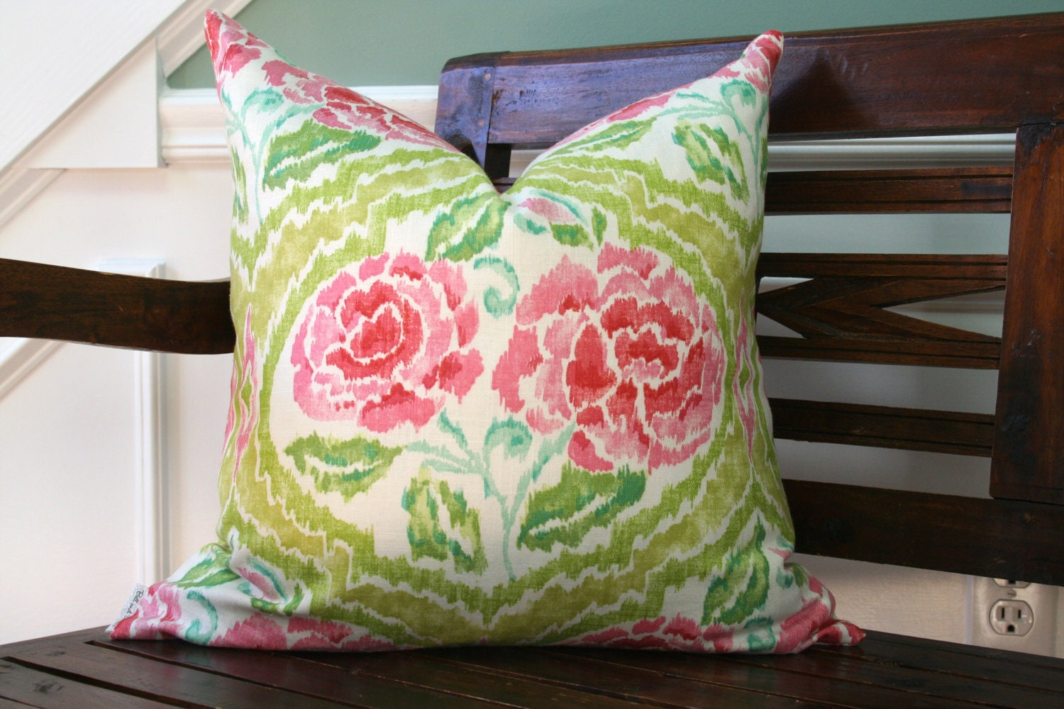 DECORATIVE PILLOW COVER 20 x 20 green-pink turquoise