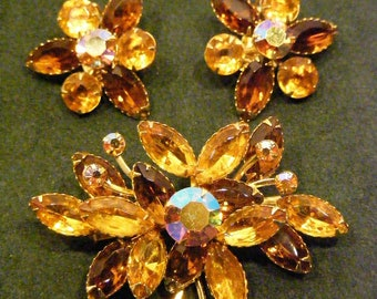 Beaujewels Demi-Parure Flowers set in Amber and Rootbeer Aurora Borealis Rhinestones
