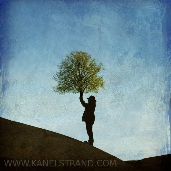 Surreal art print, fantasy photo, dreamscapes, man and tree, abstract photography, The End of The World 8x8