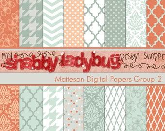 "Matteson Digital Paper Collection Group 2: 16 Individual 12x12"" 300 dpi digital scrapbook papers Salmon, Grey, Blue, White"
