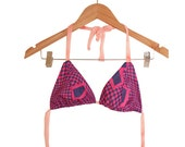 90s does 70s Trippy Print String Bikini Top Handmade from Vintage Fabric size M