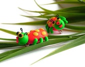 Whimsical spotted Bug Pin - Orange, Green, Yellow spots and eyes No.259 **Made To Order**