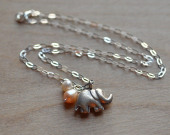 Elephant Necklace Peach White Pastel Pearls Fresh Water Charm Sterling Silver Animal