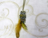 Owl and Feather Long Necklace