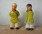 Vintage 1950's Pair of Asian Chalkware Figures Yellow Green Oriental Statues 5.5 Inches