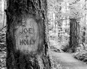 Personalized Tree Carving on Photo - Two Lives/One Path (JPEG) Digital IMAGE for YOU to print - Your names carved into this tree image