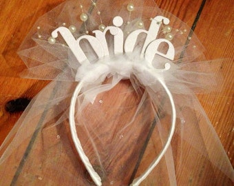 Bride headband- white letters with veil