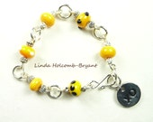 Bracelet of Yellow Lampwork Beads