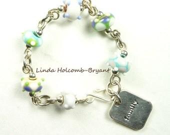 Silver Bracelet of Pastel Lampwork Beads