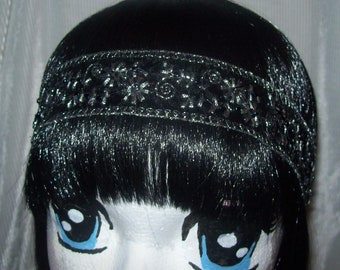 Lovely  Black,, Hippie Headband, Gypsy Headband, Bohemian Style Headband, Elastic Headband, Boho Headband.