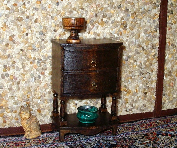 Bow Front Chest of Drawers, Dollhouse Miniature 1/12 Scale