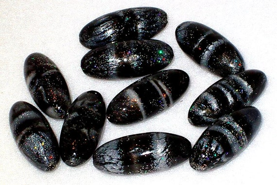 Black & Silver Beads, Focal Beads Swirled Polymer Clay, Hand Made in the USA