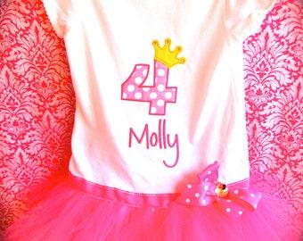 EXCLUSIVE Ballerina Birthday Applique Tutu Tshirt Dress for Children by Bubblebabys