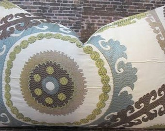 SALE Designer Pillow Cover  12 x 16, 12 x 18, 12 x 20, 10 x 20 - Suzani Embroidered Spring