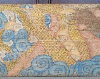 Large Wooden Chinese Dragon Original Wood Burning Painting