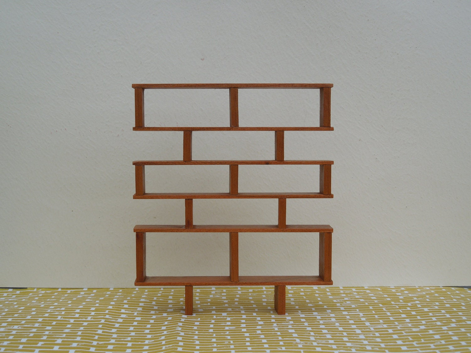 mid century modern miniature shelving in cherry 1 12 scale. Black Bedroom Furniture Sets. Home Design Ideas