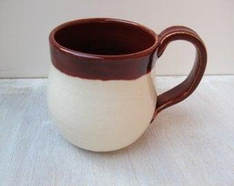 Handmade Coffee Mug, Ceramic Cup, Pottery Coffee Mug, Crimson Red and White Ceramic Mug