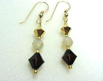 Brown Crystal Drop Earrings, Espresso Brown and Gold Dangle Earrings, Earth Tones Jewelry, Dangling Crystal Earrings, Gold Filled Earrings