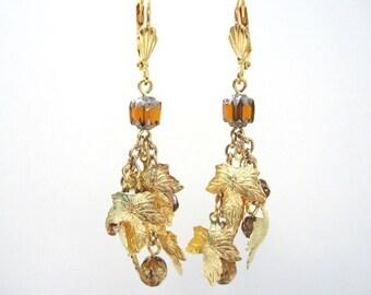 Maple Leaf Earrings, Fall Dangle Earrings, Golden Leaf Cluster Earrings, Fall Leaf Earrings Autumn Jewelry, Falling Leaves Jewelry