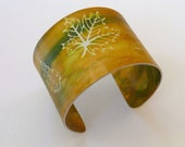 Aluminium cuff bangle handpainted leaf design fall colors, yellow, green gold - KilnFiredArt