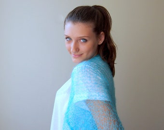 Turquoise blue shrug , kimono sleeve bolero, capele, cape ,bridal, wedding