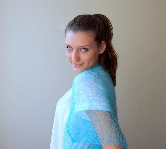 Turquoise blue shrug , kimono sleeve bolero, capele, cape ,bridal, wedding