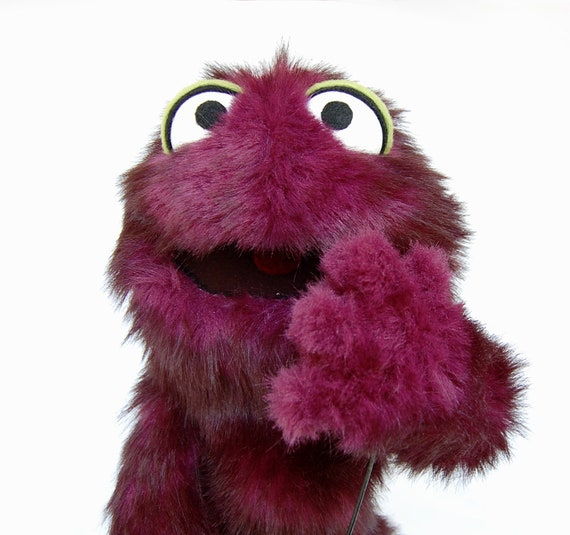 Muppet Monster Hand Puppet Purple Furry Plush Toy