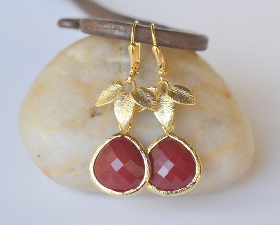 Gold Leaf and Large Oxblood Teardrop Drop Earrings. Oxblood Dangle Earrings.  Holiday Earrings. Jewelry Gift for Her.  Free Shipping.