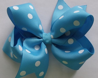 SALE  Hair Bow- Turquoise Polka Dot - Hair Bow
