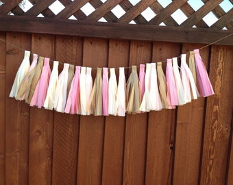 Tassel Garland- Tea Party Decoration - Wedding Party Shower Decoration - Shabby Chic Colors  - Tissue Paper Decoration