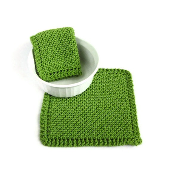 Knit Dishcloths Kiwi Apple Green Kitchen Cleaning