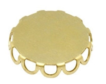 10  Raw Brass Cabochon Settings, Unplated Brass Lace edged Round Setting - 15mm inner diam.