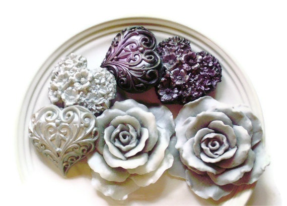 ROSE and HEART SOAPS, Glorious Grey Roses Silver & Black with Deep Purple Hearts, Valentine's Day, Custom Scented, For Her, Rose Soaps