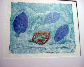 "Botanical relief print, eleagnus leaves, one-of-a-kind, monotype, aqua-teal & blue leaves, copper leafed leaf, hand-pulled print, 11"" x 14"""