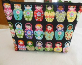 Sale-Large zipper cosmetic/accessor Pouch-Matryoshka Dolls