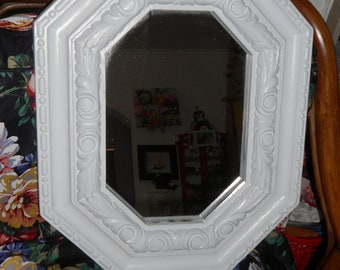 Vintage shabby  white wood mirror total Hollywood regency