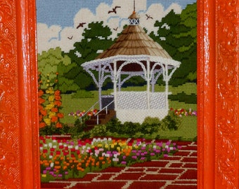 Vintage needlepoint Gazebo with flowers that look fresh a valentine must