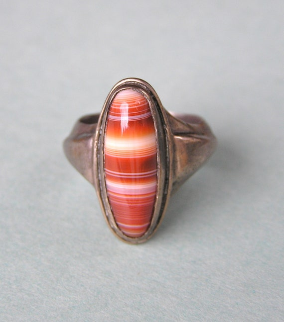 Vintage Banded Agate Heavy Ring Size 8