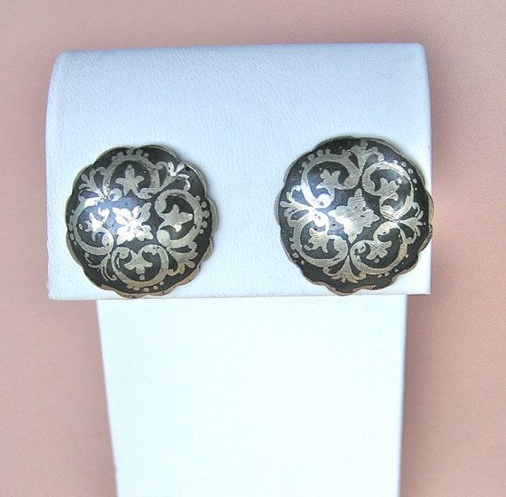 Vintage Sterling Niello Pierced Button Earrings