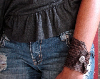 Chocolate Brown Suede Fish Leather  Cuff Bracelet with Antique Silver  Button Closure