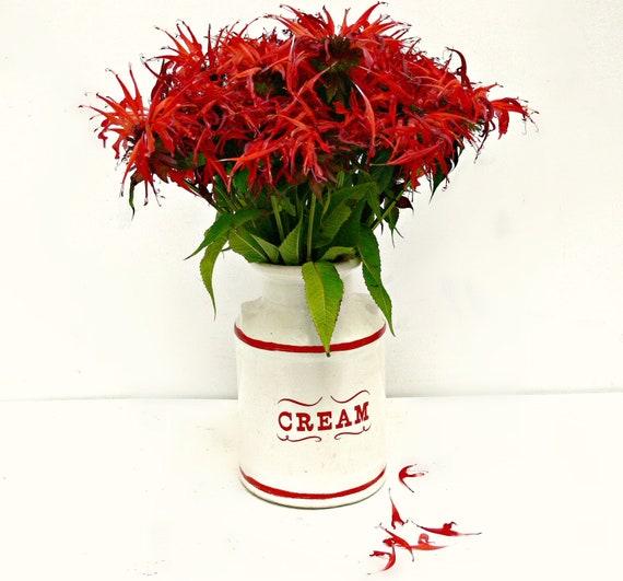 Vintage Cream Jar - Red & White Ceramic Vase - Farmhouse Cottage Home Decor