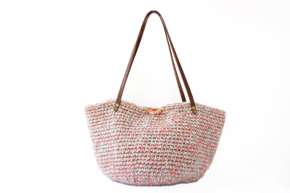 Hand knitted tricolor basket bag with genuine leather straps