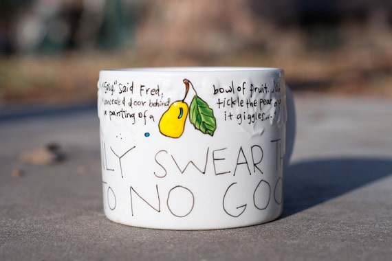 """The Marauder's Mug - Harry Potter """"I solemnly swear that I am up to no good"""" Large, broad white mug with pear and arrows"""